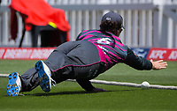 Northern's Kate Anderson tries to stop a boundary during the women's Dream11 Super Smash cricket match between the Wellington Blaze and Northern Spirit at Basin Reserve in Wellington, New Zealand on Saturday, 9 January 2021. Photo: Dave Lintott / lintottphoto.co.nz