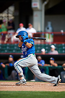 Hartford Yard Goats shortstop Anthony Phillips (14) follows through on a swing during a game against the Erie SeaWolves on August 6, 2017 at UPMC Park in Erie, Pennsylvania.  Erie defeated Hartford 9-5.  (Mike Janes/Four Seam Images)