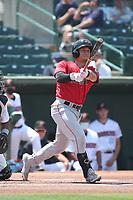 Eddy Diaz (2) of the Fresno Grizzlies bats against the Inland Empire 66ers at San Manuel Stadium on May 25, 2021 in San Bernardino, California. (Larry Goren/Four Seam Images)