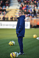 Lorient, France. - Sunday, February 8, 2015: Head coach Jill Ellis of the USWNT. France defeated the USWNT 2-0 during an international friendly at the Stade du Moustoir.