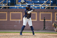 Camden Williamson (2) of the North Carolina A&T Aggies at bat against the North Carolina Central Eagles at Durham Athletic Park on April 10, 2021 in Durham, North Carolina. (Brian Westerholt/Four Seam Images)