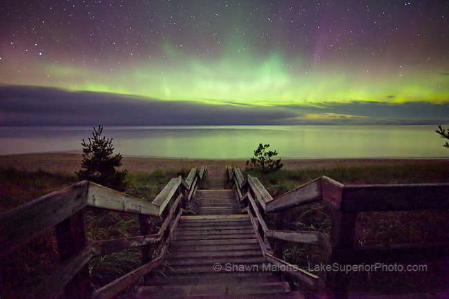 Aurora Borealis northern lights over beach stairs, Lake Superior, Marquette MI- featured National Geographic Daily News Sept. 30, 2011