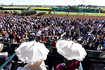 LEXINGTON, KENTUCKY - APRIL 08: Fans watch horses exit the gates at the start of the Central Bank Ashland Stakes on Bluegrass Stakes Day at Keeneland Race Course on April 8, 2017 in Lexington, Kentucky. (Photo by Scott Serio/Eclipse Sportswire/Getty Images)