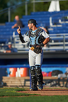Hudson Valley Renegades catcher Daniel De La Calle (13) signals one out during a game against the Batavia Muckdogs on August 1, 2016 at Dwyer Stadium in Batavia, New York.  Hudson Valley defeated Batavia 5-1.  (Mike Janes/Four Seam Images)