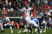 Arkansas quarterback KJ Jefferson (1) calls a play, Saturday, October 9, 2021 during the first quarter of a football game at Vaught Hemingway Stadium in Oxford, Miss. Check out nwaonline.com/211010Daily/ for today's photo gallery. <br /> (NWA Democrat-Gazette/Charlie Kaijo)