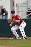 Fort Myers Miracle catcher Alex Swim (17) waits for a throw during a game against the Tampa Yankees on April 15, 2015 at Hammond Stadium in Fort Myers, Florida.  Tampa defeated Fort Myers 3-1 in eleven innings.  (Mike Janes/Four Seam Images)