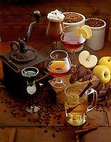 Apple and coffee drinks.