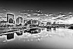 Dayton Ohio Skyline Photo in black & white with birds