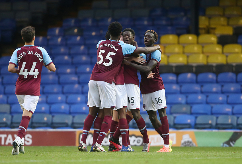 West Ham United's Ademipo Odubeko is congratulated after scoring his side's second goal<br /> <br /> Photographer Rob Newell/CameraSport<br /> <br /> EFL Trophy Southern Section Group A - Southend United v West Ham United U21 - Tuesday 8th September 2020 - Roots Hall - Southend-on-Sea<br />  <br /> World Copyright © 2020 CameraSport. All rights reserved. 43 Linden Ave. Countesthorpe. Leicester. England. LE8 5PG - Tel: +44 (0) 116 277 4147 - admin@camerasport.com - www.camerasport.com