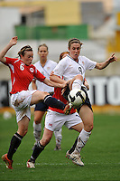 US National Team player Heather O'Reilly challenges for the ball vs Norway in Olhao, Portugal during the 2010 Algarve Cup.