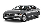 2019 Volvo S90 Inscription PHEV T8 AWD 4 Door Sedan angular front stock photos of front three quarter view