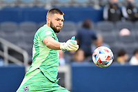 KANSAS CITY, KS - MAY 16: Maxime Crepeau #16 Vancouver Whitecaps during a game between Vancouver Whitecaps and Sporting Kansas City at Children's Mercy Park on May 16, 2021 in Kansas City, Kansas.