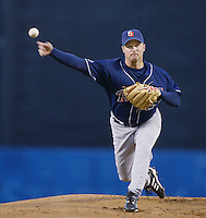 Brian Lawrence of the San Diego Padres pitches during a 2002 MLB season game against the Los Angeles Dodgers at Dodger Stadium, in Los Angeles, California. (Larry Goren/Four Seam Images)