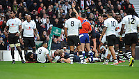 Joe Launchbury of England scores his first of two tries during the Old Mutual Wealth Series match between England and Fiji at Twickenham Stadium on Saturday 19th November 2016 (Photo by Rob Munro)
