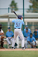 Tampa Bay Rays center fielder Michael Smith (51) at bat during an Instructional League game against the Pittsburgh Pirates on October 3, 2017 at Pirate City in Bradenton, Florida.  (Mike Janes/Four Seam Images)