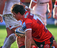 26th March 2021; Kingsholm Stadium, Gloucester, Gloucestershire, England; English Premiership Rugby, Gloucester versus Exeter Chiefs; Henry Walker of Gloucester scores a try early in the game