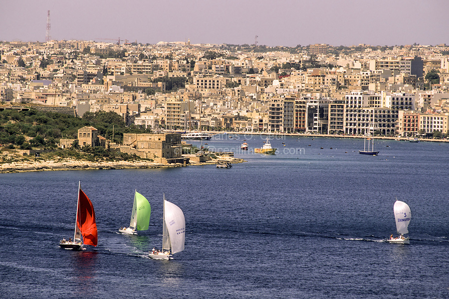 Sliema and Sliema Creek, Malta.  View from Saint Elmo Fort, Valletta.  Manoel Island on Left, Sail Boats in Harbor.