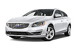 Stock pictures of low aggressive front three quarter view of 2018 Volvo V60 T5 5 Door Wagon Low Aggressive