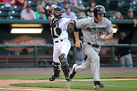 Great Lakes Loons catcher Gorman Erickson (21) during a game vs. the Dayton Dragons at Dow Diamond in Midland, Michigan August 19, 2010.   Great Lakes defeated Dayton 1-0.  Photo By Mike Janes/Four Seam Images