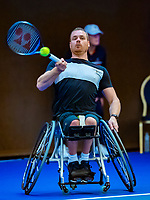 Alphen aan den Rijn, Netherlands, December 14, 2018, Tennispark Nieuwe Sloot, Ned. Loterij NK Tennis,  Wheelchair men's doubles : Maikel Scheffers  (NED)<br /> Photo: Tennisimages/Henk Koster