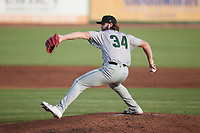 Augusta GreenJackets starting pitcher Jared Johnson (34) in action against the Charleston RiverDogs at Joseph P. Riley, Jr. Park on June 25, 2021 in Charleston, South Carolina. (Brian Westerholt/Four Seam Images)