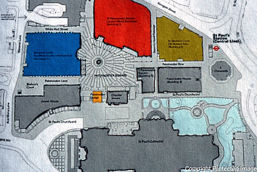 London: St. Paul's and Paternoster Plan.   Reference only.
