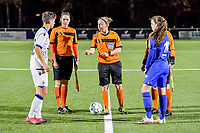 Isabelle Iliano (18) of Club Brugge , assistant referee Caroline Lanssens , referee Lois Otte , assistant referee Ella De Vries and midfielder Sien Vandersanden (10) of KRC Genk pictured before a female soccer game between  Racing Genk Ladies and Club Brugge YLA on the 10 th matchday of the 2020 - 2021 season of Belgian Scooore Womens Super League , friday 18 th of December 2020  in Genk , Belgium . PHOTO SPORTPIX.BE | SPP | STIJN AUDOOREN