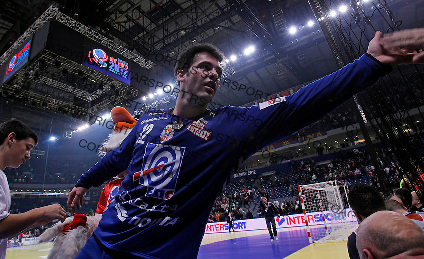 Darko Stanic, Serbian national handball team players celebrate victory after men`s EHF EURO 2012 championship semifinal handball game against Croatia in Belgrade, Serbia, Friday, January 27, 2011.  (photo: Pedja Milosavljevic / thepedja@gmail.com / +381641260959)