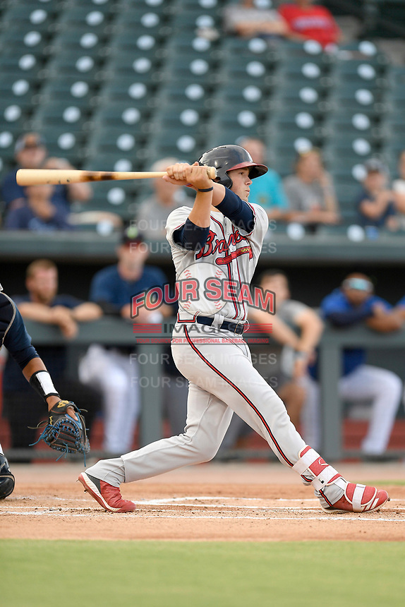 Catcher Logan Brown (99) of the Rome Braves bats in a game against the Columbia Fireflies on Tuesday, June 4, 2019, at Segra Park in Columbia, South Carolina. Columbia won, 3-2. (Tom Priddy/Four Seam Images)