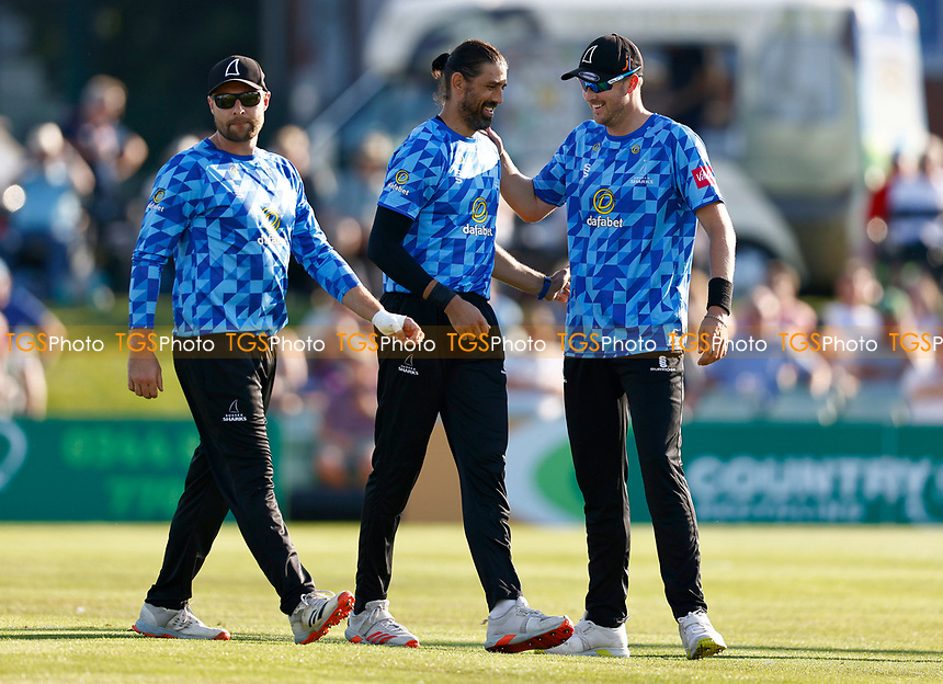 David Wiese (C) of Sussex is congratulated after taking the wicket of George Munsey during Kent Spitfires vs Sussex Sharks, Vitality Blast T20 Cricket at The Spitfire Ground on 18th July 2021