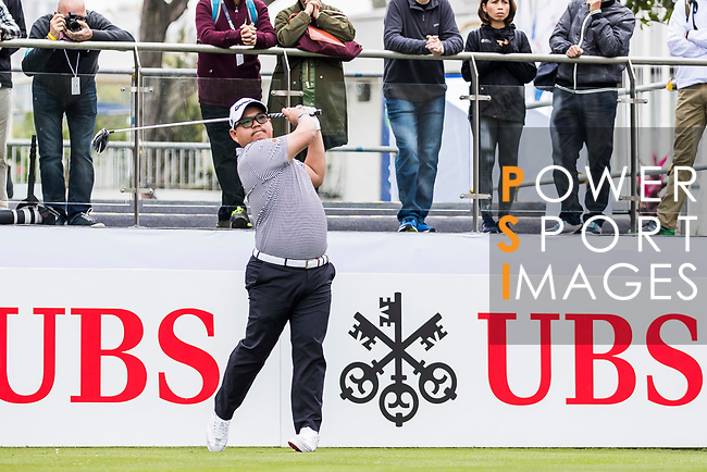 Panuphol Pittayarat of Thailand tees off during the day three of UBS Hong Kong Open 2017 at the Hong Kong Golf Club on 25 November 2017, in Hong Kong, Hong Kong. Photo by Yu Chun Christopher Wong / Power Sport Images