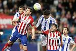 Atletico de Madrid's Lucas Hernandez (2l) and Augusto Fernandez (2r) and Real Sociedad's Jonathas de Jesus (l), Diego Reyes (c) and Mikel Gonzalez during La Liga match. March 1,2016. (ALTERPHOTOS/Acero)