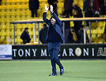 Livingston v St Johnstone…31.10.18…   Tony Macaroni Arena    SPFL<br />Tommy Wright applauds th fans at full time<br />Picture by Graeme Hart. <br />Copyright Perthshire Picture Agency<br />Tel: 01738 623350  Mobile: 07990 594431