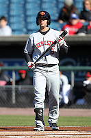 Rochester Red Wings outfielder Rene Tosoni #9 during a game against the Syracuse Chiefs at Alliance Bank Stadium on April 6, 2012 in Syracuse, New York.  Rochester defeated Syracuse 3-1.  (Mike Janes/Four Seam Images)