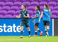 ORLANDO, FL - FEBRUARY 18: Mariana Larroquette #19 of Argentina celebrates during a game between Argentina and Brazil at Exploria Stadium on February 18, 2021 in Orlando, Florida.