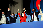 President of Community of Madrid and Candidate Isabel Diaz Ayuso celebrates with Pablo Casado, President of the Popular Party, Teodoro Garcia Egea and Jose Luis Martinez-Almeida, Mayor of Madrid the victory in the Madrid regional elections at the PP headquarters on May 04, 2021 in Madrid, Spain.(AlterPhotos/Ramiro Ellis)