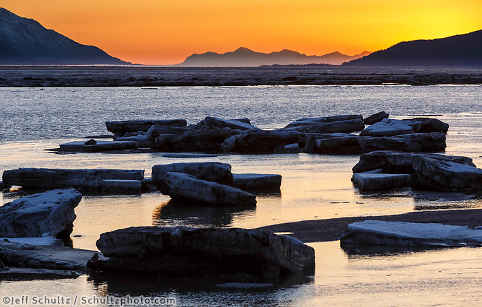 Spring landscape of icebergs in Turnagain Arm at sunset.   April 2017<br /> <br /> Photo by Jeff Schultz/SchultzPhoto.com  (C) 2017  ALL RIGHTS RESERVED