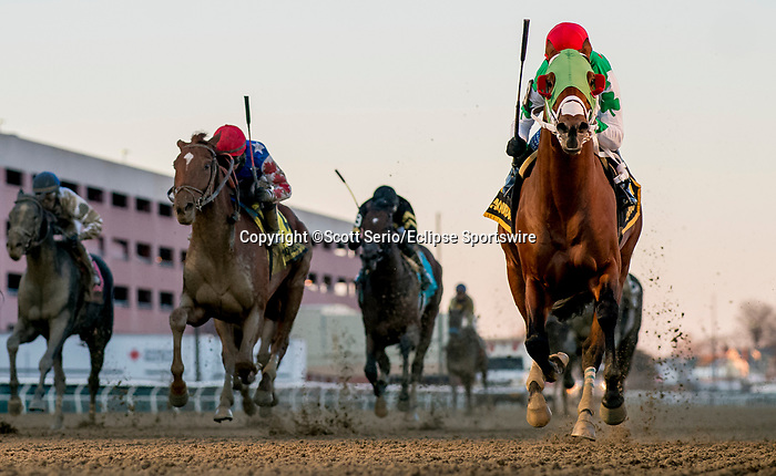 March 7, 2020 : Mischievous Alex #6, ridden by Kendrick Carmouche, wins the Gotham Stakes on Gotham Stakes Day at Aqueduct Racetrack in Jamaica, New York. Scott Serio/Eclipse Sportswire/CSM