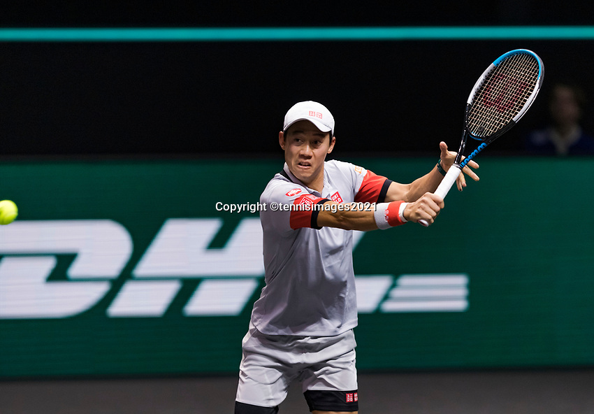 Rotterdam, The Netherlands, 28 Februari 2021, ABNAMRO World Tennis Tournament, Ahoy, First round match: Kei Nishikori (JPN). <br /> Photo: www.tennisimages.com/henkkoster