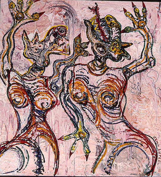 Dancing Dogs I. Acrylic on board. 4' X 4'. Painted about 1987.