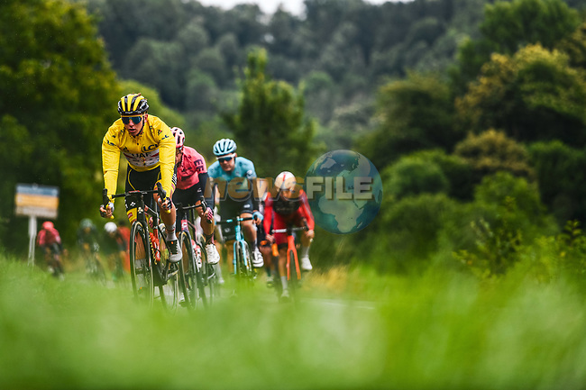 Race leader Tadej Pogacar (SLO) UAE Team Emirates during Stage 16 of the 2021 Tour de France, running 169km from Pas de la Case to Saint-Gaudens, France. 13th July 2021.  <br /> Picture: A.S.O./Charly Lopez | Cyclefile<br /> <br /> All photos usage must carry mandatory copyright credit (© Cyclefile | A.S.O./Charly Lopez)