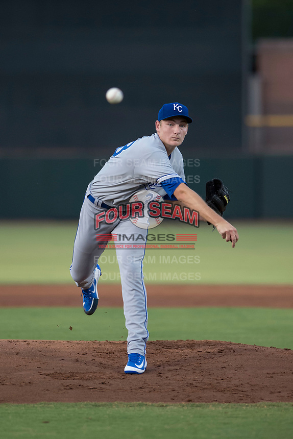 AZL Royals starting pitcher Zach Haake (38) follows through on his delivery during an Arizona League game against the AZL Giants Black at Scottsdale Stadium on August 7, 2018 in Scottsdale, Arizona. The AZL Giants Black defeated the AZL Royals by a score of 2-1. (Zachary Lucy/Four Seam Images)
