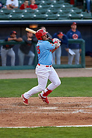Peoria Chiefs left fielder Leandro Cedeno (35) during a Midwest League game against the Bowling Green Hot Rods at Dozer Park on May 5, 2019 in Peoria, Illinois. Peoria defeated Bowling Green 11-3. (Zachary Lucy/Four Seam Images)