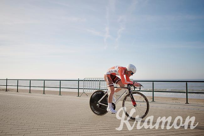 Maxime Vantomme (BEL) racing next to the sea<br /> <br /> 3 Days of West-Flanders 2014<br /> day 1: TT/prologue Middelkerke 7,0 km