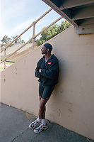 PALO ALTO, CA - Jerry Rice poses for a portrait at Stanford Stadium after working out at Stanford University in Palo Alto, California in 2001. Photo by Brad Mangin