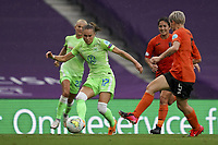 21st August 2020, San Sebastian, Spain;  Ewa Pajor of VfL Wolfsburg shoots during the UEFA Womens Champions League football match Quarter Final between Glasgow City and VfL Wolfsburg.