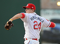 April 30, 2009: RHP Brock Huntzinger (24) of the Greenville Drive, Class A affiliate of the Boston Red Sox, in a game against the Savannah Sand Gnats at Fluor Field at the West End in Greenville, S.C. Photo by: Tom Priddy/Four Seam Images