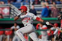 Auburn Doubledays Rafael Bautista (9) bats during a NY-Penn League game against the Batavia Muckdogs on June 14, 2019 at Dwyer Stadium in Batavia, New York.  Batavia defeated 2-0.  (Mike Janes/Four Seam Images)