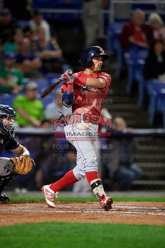 Portland Sea Dogs shortstop Jeremy Rivera (16) follows through on a swing during a game against the Binghamton Rumble Ponies on August 31, 2018 at NYSEG Stadium in Binghamton, New York.  Portland defeated Binghamton 4-1.  (Mike Janes/Four Seam Images)