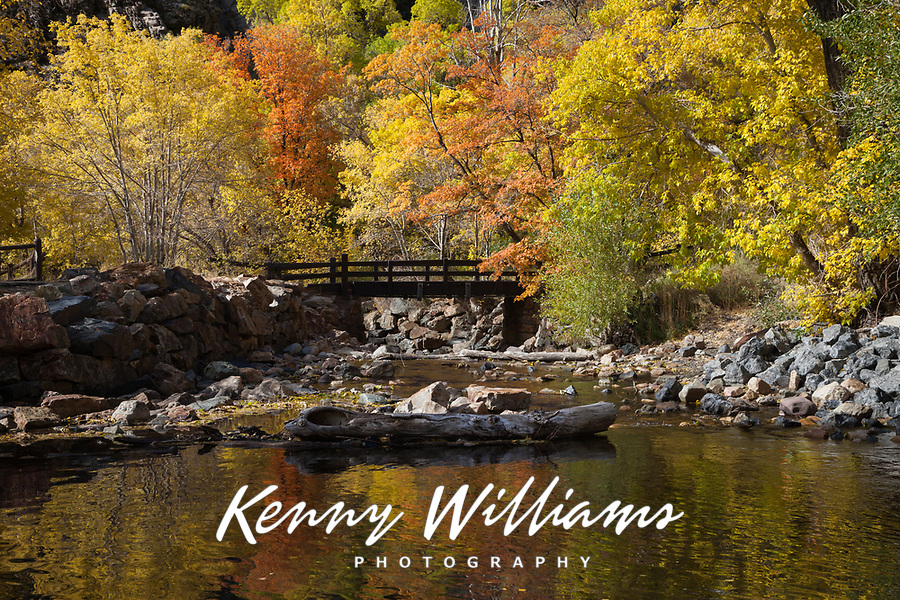 Big Cottonwood Creek Bridge in Autumn Fall Colors Sandy, Utah, USA.